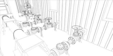 Industrial equipment  Wire-frame 3d render  Vector format