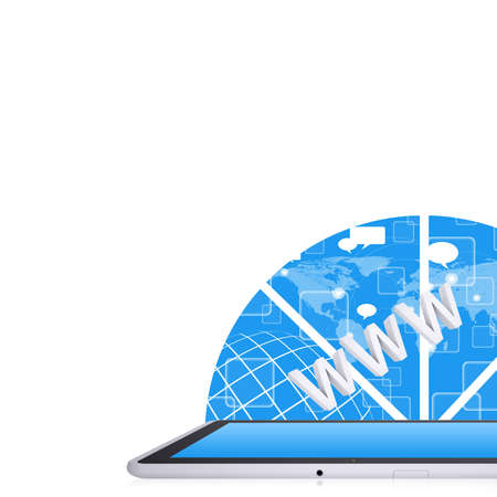 Tablet PC on the abstract background  Computer technology concept Stock Photo - 25000525