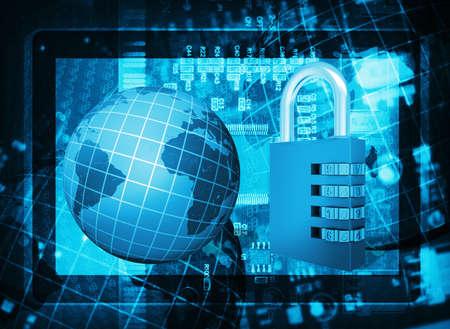 lock  futuristic: Circuito integrato Futuristico, serratura a codice, tablet PC e globo Il concetto di sicurezza elettronica Archivio Fotografico