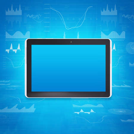 Tablet PC on the background of graphs and figures  Computer technology concept Stock Photo - 25000531