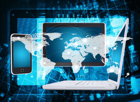Laptop, tablet pc and smartphone  Abstract background  microcircuit and world map  Computer technology concept Stock Photo - 25000539
