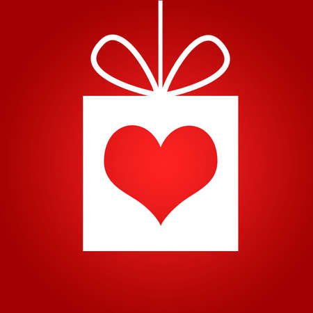 Red heart in gift  Red background  The concept of Valentine s Day photo