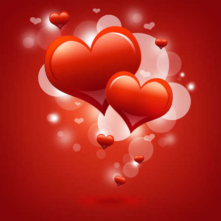 Two red hearts  Abstract background  The concept of Valentine s Day photo