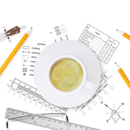 Desktop architect  Drawings, tools engineer and a cup of coffee photo