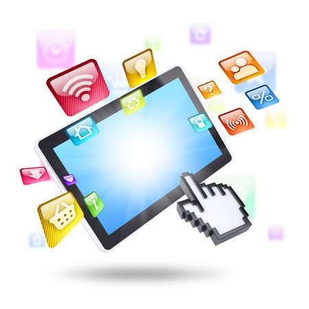 Tablet computer and application icons  Computer technology concept photo
