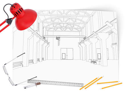 Desktop architect  Drawing, lamp, tools engineer and a cup of coffee photo