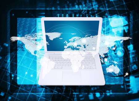 Laptop  Abstract background  microcircuit, tablet pc and world map  Computer technology concept Stock Photo - 25000587