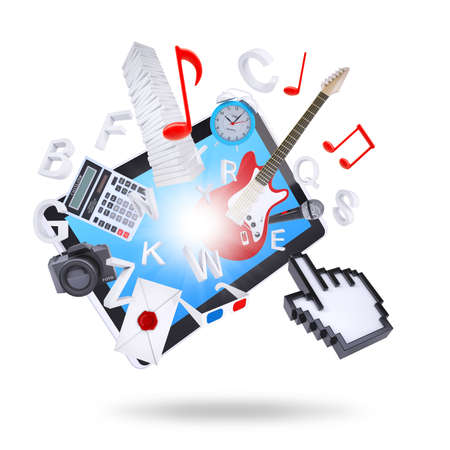 e guitar: Tablet PC and multimedia objects  Isolated on white background  The concept of multimedia technologies