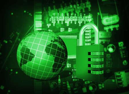 lock  futuristic: Circuito integrato Futuristico, serratura a codice e globo Il concetto di sicurezza elettronica Archivio Fotografico