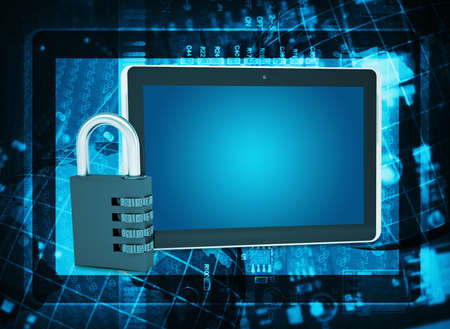 Tablet PC and code lock on abstract background  The concept of electronic security photo