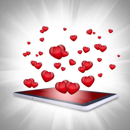 Red hearts fly out of the tablet PC  Computer technology concept on Valentine s Day photo
