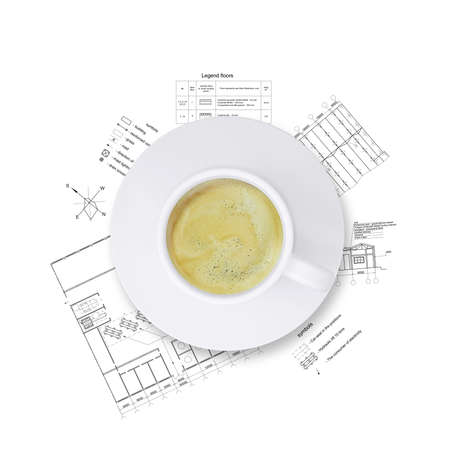 Desktop architect  Drawings and a cup of coffee photo