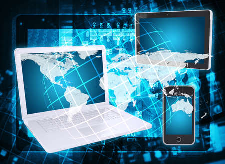 Laptop, tablet pc and smartphone  Abstract background  microcircuit and world map  Computer technology concept Stock Photo - 25000611