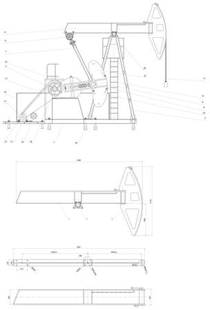 pumping: Engineering drawing of the pumping unit  Vector format