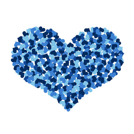 Big heart made up of little hearts  Isolated on white background photo