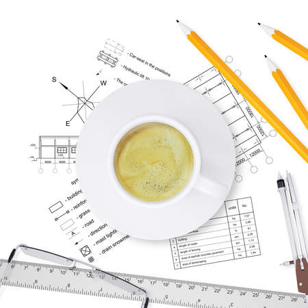 architect tools: Desktop architect  Drawings, tools engineer and a cup of coffee