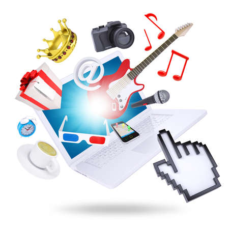 stereoscopic: Laptop and multimedia objects  Isolated on white background  The concept of multimedia technologies