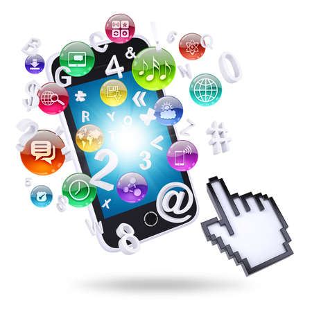 Smartphone and application icons  The concept of telecommunication technologies photo