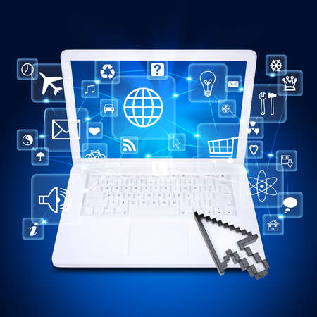 syncing: Laptop and application icons  The concept of software