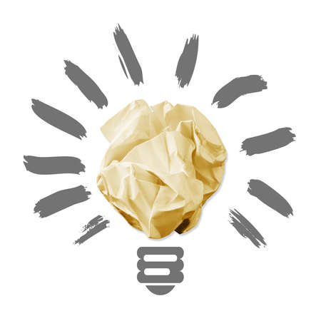 Wad of crumpled paper in the form of light bulbs  isolated on white background Stock Photo