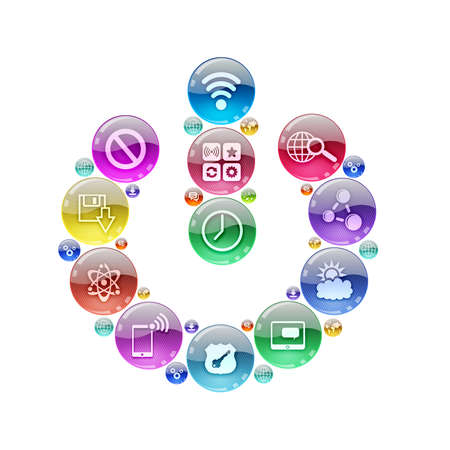 Silhouette icon power of apps icons  The concept software photo
