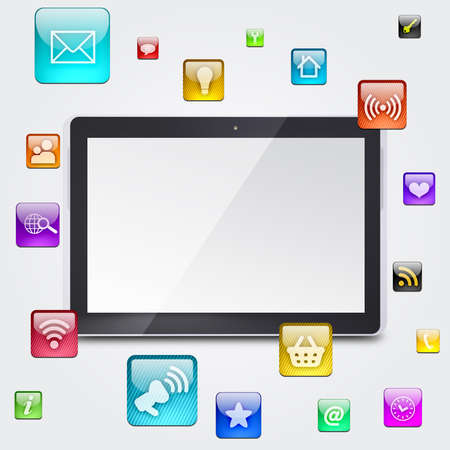 syncing: Tablet PC and application icons  The concept of software
