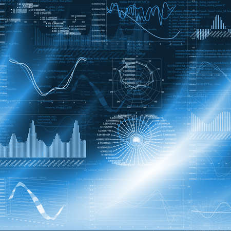 Graphics on blue background  The concept of the global economy
