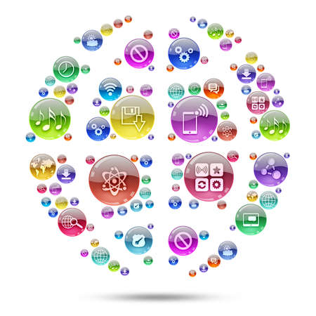 Silhouette sphere consisting of apps icons  The concept software photo