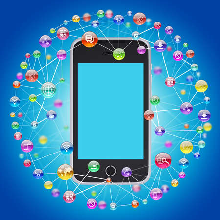 Smartphone and application icons  The concept of software photo