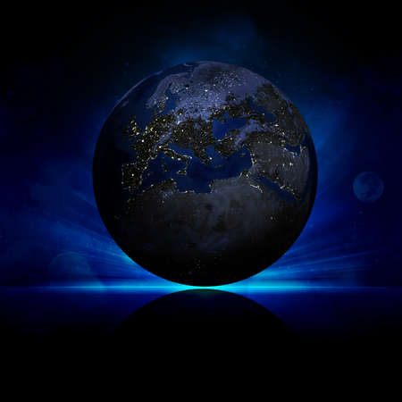 Earth planet on a reflective surface  Elements of this image are furnished by NASA photo