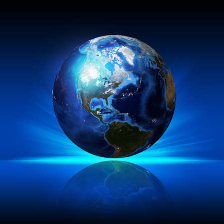 Earth planet on a reflective surface   photo