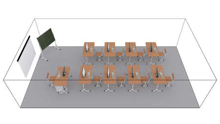Classroom  3d render isolated on white background photo