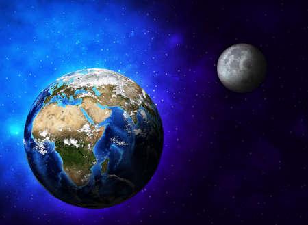 Planeten Erde und Mond Standard-Bild - 26129121