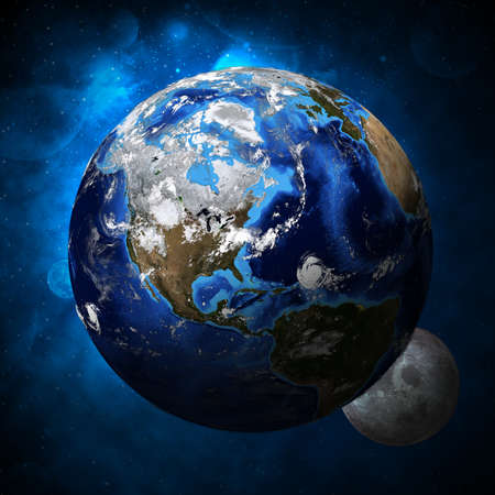 Earth planet and moon  Elements of this image are furnished by NASA photo