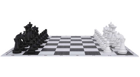 Chess on the chessboard Isolated render on a white background photo