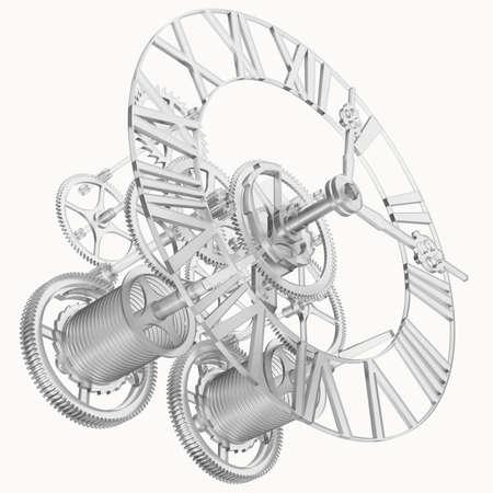 Transparent Uhrwerk isoliert render auf weißem Hintergrund Standard-Bild - 26311006