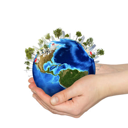 Hands holding earth Isolated on white background photo