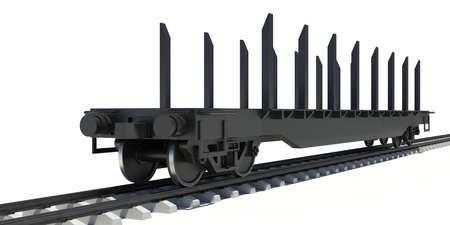 boxcar: Wagon platform  Render on a white background Stock Photo