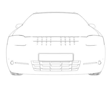 Wire frame car  Isolated render on a white background photo