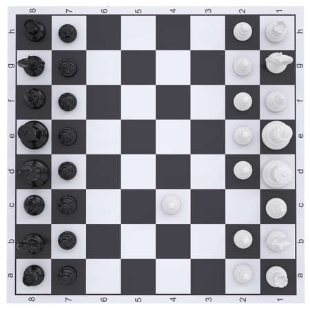 Chess on the chessboard  Render on white background photo