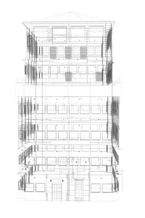 Highly detailed building  Isolated wire-frame render on a white background photo