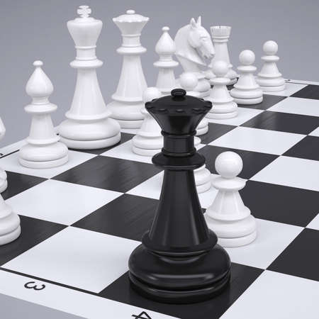 chessmen: Chess on the chessboard  Render on a gray background Stock Photo