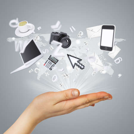 Electronics are emitted from the palm  The concept of electronics photo