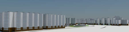 Residential district  3d rendering on blue sky background photo