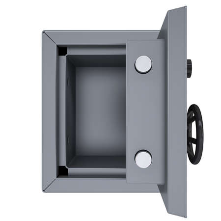 Opened metal safe  Isolated render on a white background photo