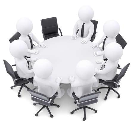 ラウンド テーブルの 1 つの椅子に 3 d の白人の人々 は空の概念は、完全な会議ではありません