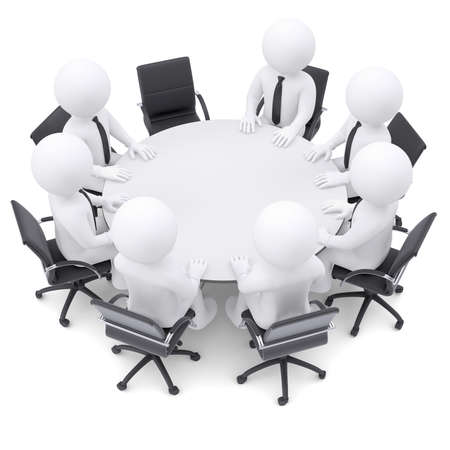 3d white people at the round table  One chair is empty  The concept is not complete conference