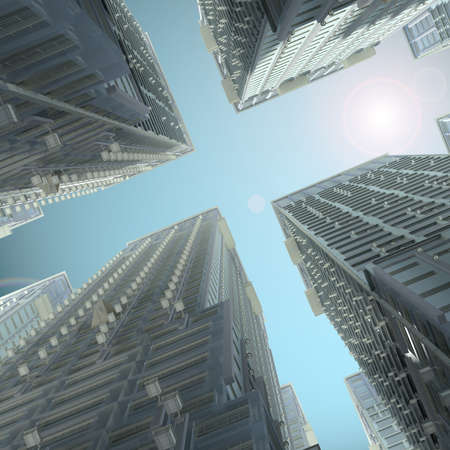 Skyscrapers  Render on a futuristic sky background