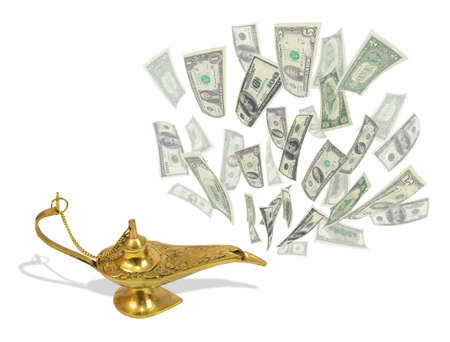 arabic currency: Money fly out of Aladdin magic lamp Stock Photo