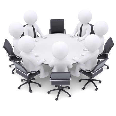 one on one meeting: 3d white people at the round table  One chair is empty  The concept is not complete conference